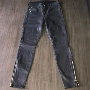 7 For All Mankind Jeans - 7 For All Mankind Black Coated Skinny Jeans